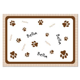 Cat Gingham Personalised Food Mat - Brown