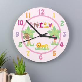 Animal Alphabet Personalised Clock - Girls