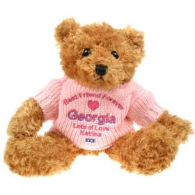 Best Friend Personalised Brown Teddy Bear - Pink Jumper