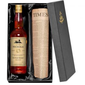 Single Malt Whisky Personalised Label & Newspaper with Gift Box