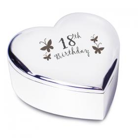 18th Birthday Heart Trinket Box - Nickel Plated