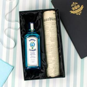 Bombay Sapphire Gin and Original Newspaper with Gift Box
