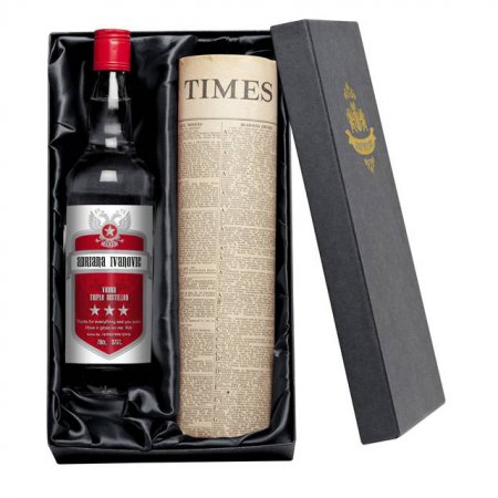 Vodka Red Shield Personalised Label & Newspaper with Gift Box