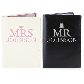 Mr & Mrs Personalised Leather Passport Holders - Set of 2