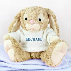 Bunny with Personalised T-Shirt - Name in Blue Embroidery