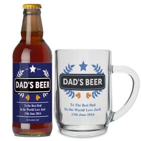 Beer & Personalised Tankard - Blue Wheat