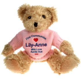 1st Confirmation Personalised Teddy Bear - Pink Jumper