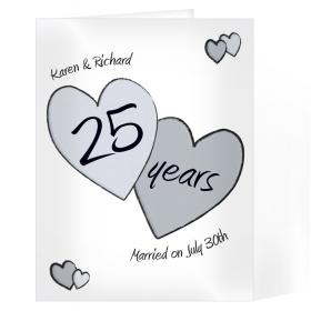 Anniversary Personalised Card - Perfect Love 25th Silver