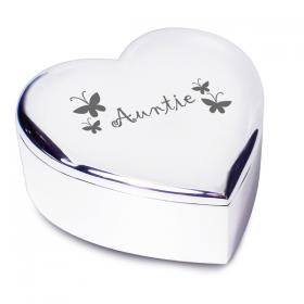 Auntie Heart Trinket Box - Nickel Plated
