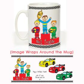 Racing Cars Personalised Message Mug - Red