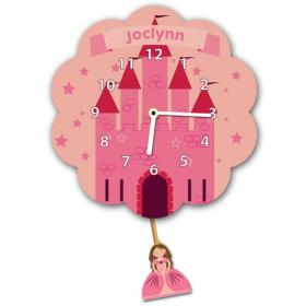 Castle and Princess Personalised Pendulum Wall Clock