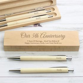 Any Message Personalised Wooden Case with Pen & Pencil Set