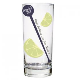 Hi-Ball Personalised Glass - Lime & Stirrer