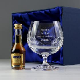 Brandy Personalised Crystal Glass & Miniature Gift Set
