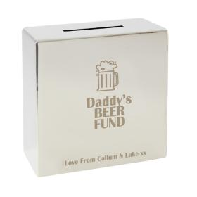 Beer Fund Personalised Square Money Box - Nickel Plated