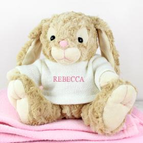 Bunny with Personalised T-Shirt - Name in Pink Embroidery