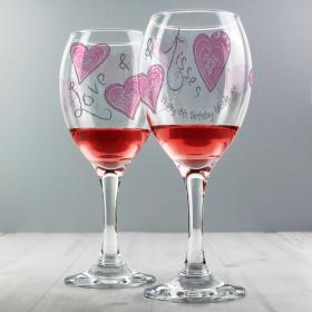 Love & Kisses Hearts Personalised Wine Glass