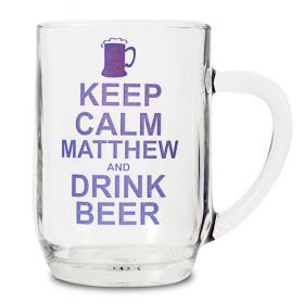 Beer Glass Personalised - Keep Calm
