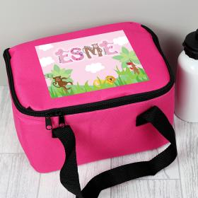 Animal Personalised Lunch Bag - Animal Letter Pink