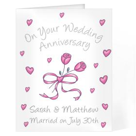 Anniversary Personalised Rose Card