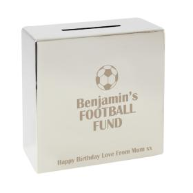 Football Fund Personalised Square Money Box - Nickel Plated