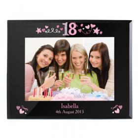 18th Birthday Personalised Glass Photo Frame - Black