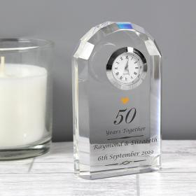 50th Golden Anniversary Personalised Crystal Clock