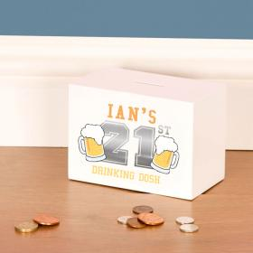 21st Birthday Beer Drinking Fund Personalised Wooden Money Box