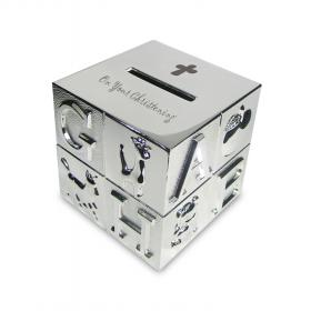 ABC Christening Engraved Cube Money Box - Nickel Plated