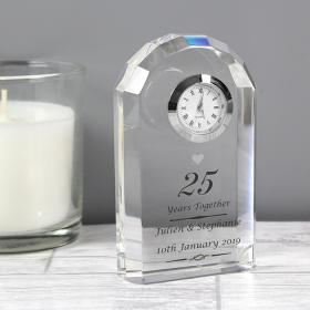 25th Silver Anniversary Personalised Crystal Clock