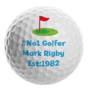 Golf Personalised Ball - Flag