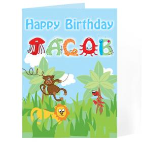 Animal Message Personalised Card - Boys
