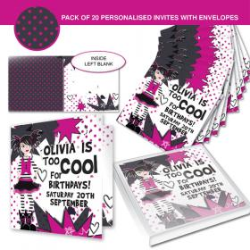 Too Cool Girl Party Personalised Invitations - Set of 20