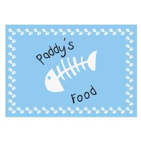 Cat Paw & Fish Print Personalised Food Mat - Blue