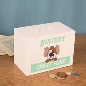 Dog Treat Money Fund Personalised Wooden Money Box