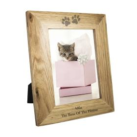 Cat Pawl Prints Personalised Oak Photo Frame