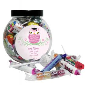 Teacher Personalised Miss Owl Sweet Jar