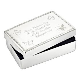 Butterfly Personalised Jewellery Box - Nickel Plated