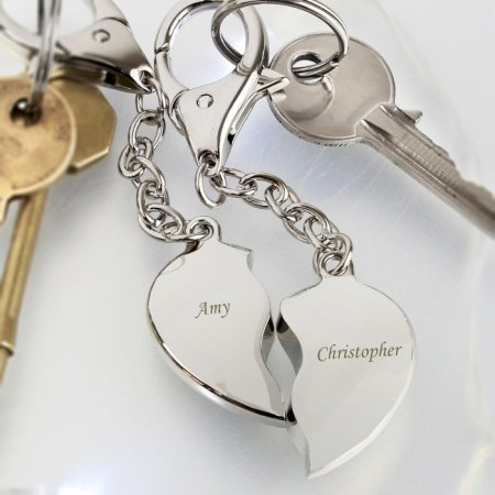Heart Personalised Keyring Nickel Plated - 2 part Set