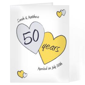 Anniversary Personalised Card - Perfect Love 50th Golden