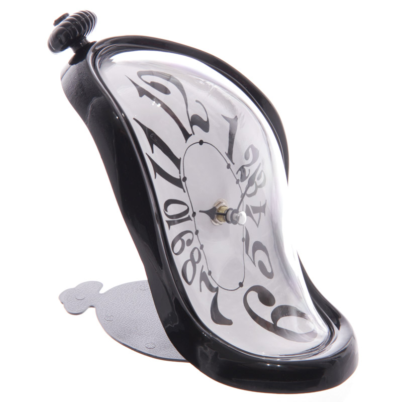 Dali Style Desktop Melting Clock Black Gloss Frame