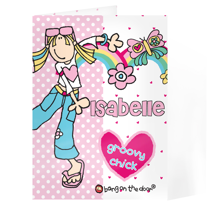 Birthday Personalised Her Card - Bang on the Door Groovy Chick