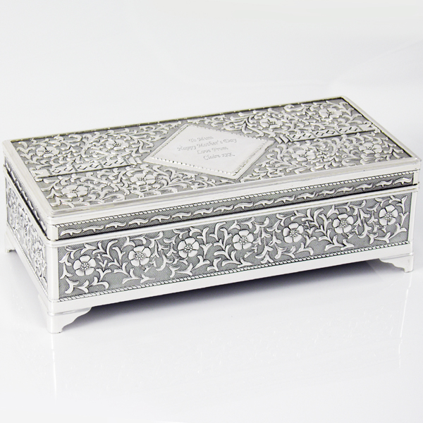 Jewellery Box Personalised Antique Silver Plated Personalised