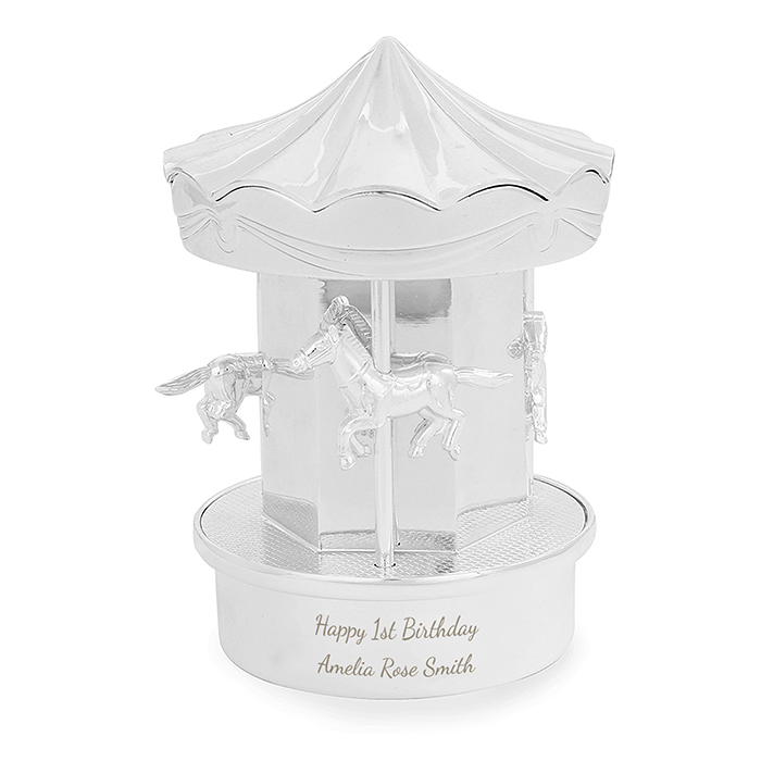 Horse Carousel Personalised Money Box - Nickel Plated