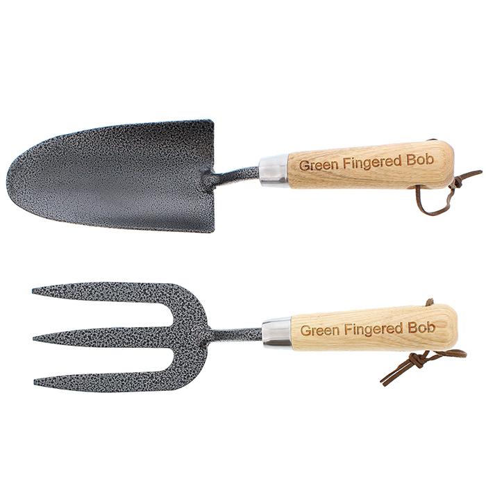 Gardening fork trowel personalised set personalised for Garden trowel and fork
