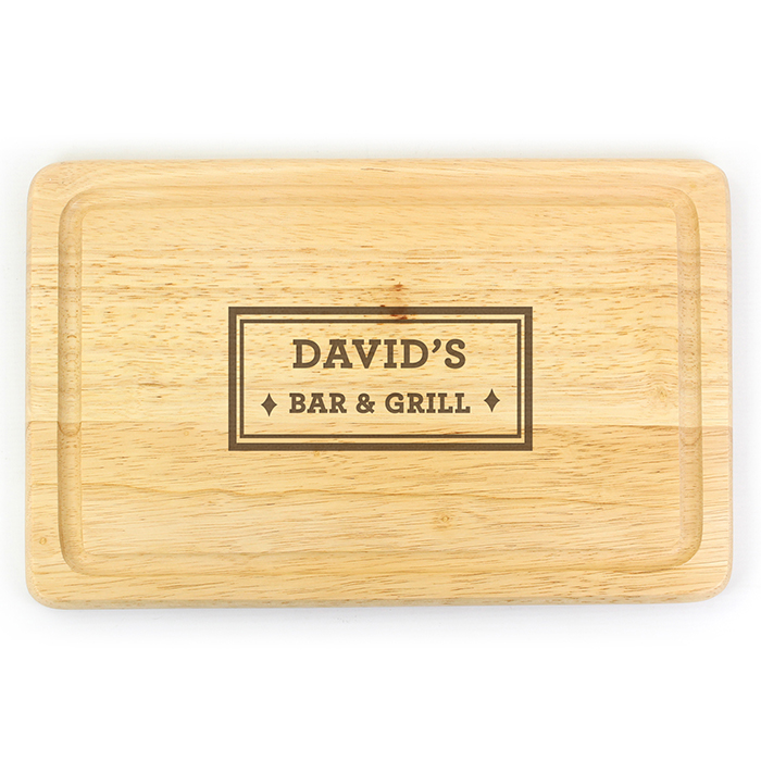 Bar & Grill Personalised Wooden Chopping Board - Large