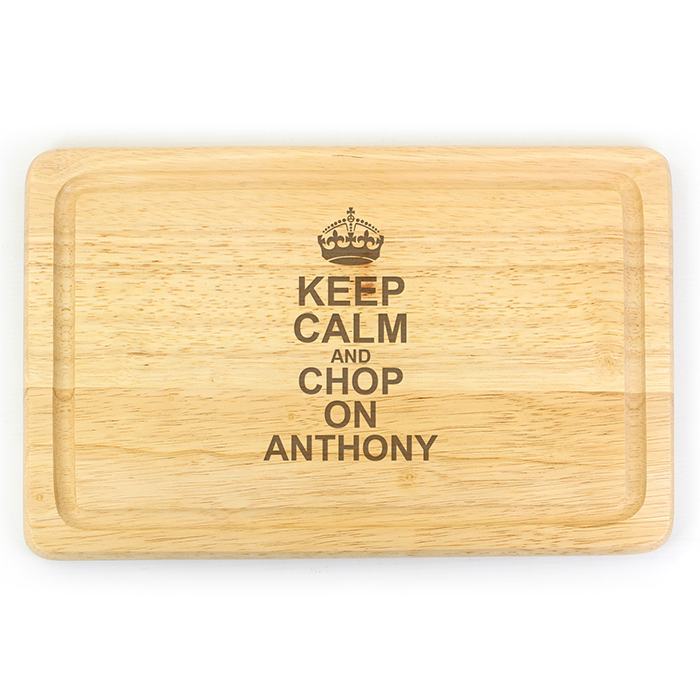 Keep Calm & Chop On Personalised Wooden Chopping Board - Large