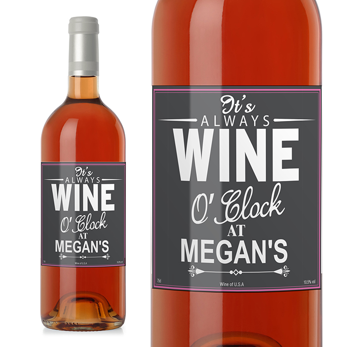 Rose Wine with Personalised Wine O'Clock Label