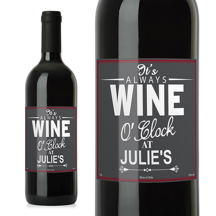 Red Wine with Personalised Wine O'Clock Label