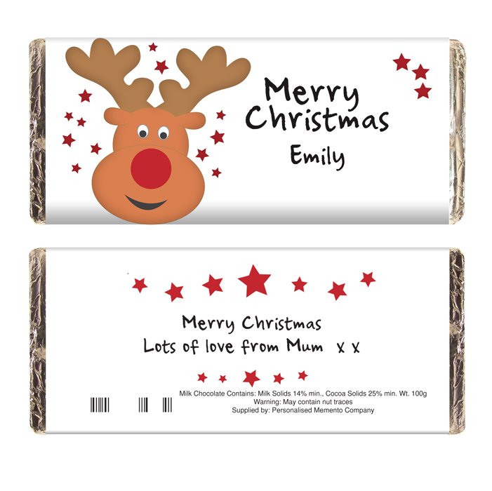 Christmas Chocolate Bars Chocolate Bar Reindeer
